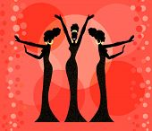 stock photo of hourglass figure  - Three glamorous retro divas - JPG