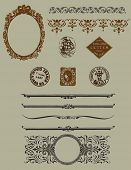 Design elements: vintage borders, etchings and horizontal rules