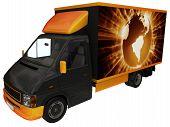 stock photo of fedex  - International delivery van with funky globe illustration - JPG