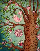 Vintage Wallpaper: Cute bird perched on a flowering tree