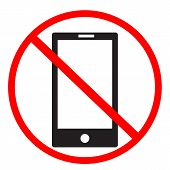 No Phone Sign On White Background. No Mobile Phones Icon Design For Your Web Site Design, Logo, App, poster