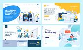 Set Of Web Page Design Templates For Web And Mobile Apps, Seo, Marketing Strategy, Video Marketing.  poster