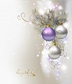 light Christmas background with three  evening balls