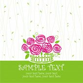 card with vector stylized roses in basket