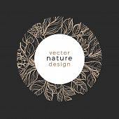 Vector Template Design Organic Plant Symbol Nature Card Of Mate Tree Art Line Style Narural Leaves,  poster