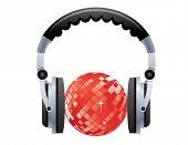 Disco ball with headphones