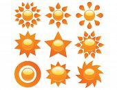 Raster set of sun icon