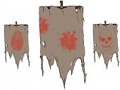 Set of Vector torn flags with symbols