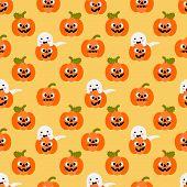 Cute Halloween Pumpkin And Ghost Seamless Pattern. Cute Halloween Concept. poster