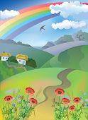 Village landscape with rainbow