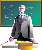 Old teacher near the blackboard