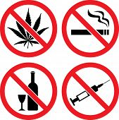 "Forbidding  Vector Signs ""No Smoking"", ""No Drugs"", ""No Cannabis""  and ""No Alcohol"""