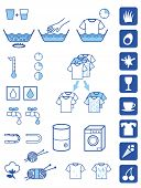 Set of symbols for detergent powder instructions