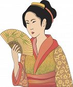 Japanese geisha â?? vector illustration in style of traditional japanese engraving