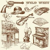 image of kerosene lamp  - hand drawn wild west collection - JPG