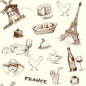 france-paris-hand drawn seamless wallpaper