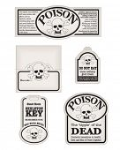 Create your own bottle labels, goody bag and table decorations with these poisonous skull and crossbones.