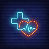 Heart, Cross And Cardiogram Neon Sign. Medicine, Cardiology And Healthcare Concept. Advertisement De poster