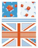 Union Jack design elements for scrap booking, cushion covers, textiles, paper craft and more all patterns are repeat.