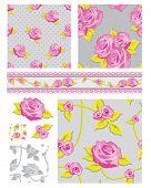 Plantillas de elementos de diseño clásico para la reserva de chatarra, tarjetas de felicitación, papel pintado, textiles, todo patrón