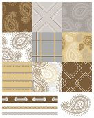 Seamless Patchwork Paisley Patterns and trims. Use to print onto fabric or paper craft projects.