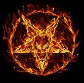 Satanic fire pentagram