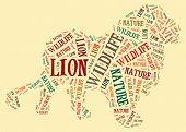 Textcloud: silhouette of lion
