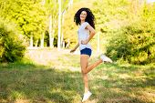 Pretty, Curly, Brunette, Posing, Grass, Sunny, Day, Woman, Leap, Person, Girl, Summer, Nature, Sprin poster