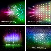 Abstract Colorful Shiny Background Set