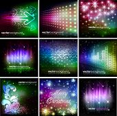 Colorful Shiny Background Set