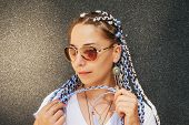 Portrait Of Young Happy Beautiful Girl In Sunglasses With Braided Hair With Kenekalon, Many Long Col poster