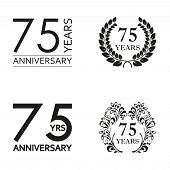 75 Years Anniversary Set. Anniversary Icon Emblem Or Label Collection. 75 Years Celebration And Cong poster