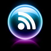 neon glossy web icon - rss