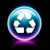 neon glossy web icon - recycle