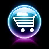 icono de neón brillante web - carrito de compras