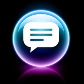 neon glossy web icon - chat