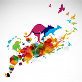 image of kangaroo  - modern abstract illustration with jumping kangaroo - JPG