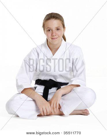 Постер, плакат: Боевых искусств девушка portrait karate девушка портрет Боевых искусств и Карате кид портрет Маленькая девочка sit, холст на подрамнике