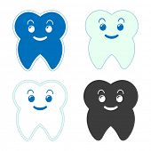 Happy cute tooth stickers.