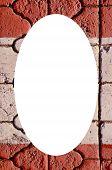Fundo do fragmento da parede e branco Oval no centro