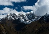 Snowbound Mountain Peaks And Clouds In Himalayas