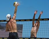 HERMOSA BEACH, CA - JULY 21: Mark Williams and John Hyden compete in the Jose Cuervo Pro Beach Volle