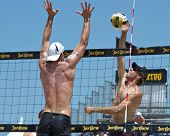HERMOSA BEACH, CA - JULY 21: Stein Metzger and Sean Scott compete in the Jose Cuervo Pro Beach Volle