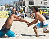 HERMOSA BEACH, CA - JULY 21: Derek Olson and Matt Motter compete in the Jose Cuervo Pro Beach Volley