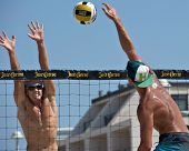 HERMOSA BEACH, CA - JULY 21: Avery Drost and Matt Motter compete in the Jose Cuervo Pro Beach Volleyball tournament in Hermosa Beach, CA on July 21, 2012.