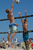 HERMOSA BEACH, CA - JULY 21: Avery Drost and Matt Motter compete in the Jose Cuervo Pro Beach Volley