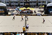 HERMOSA BEACH, CA - JULY 21: -- compete in the Jose Cuervo Pro Beach Volleyball tournament in Hermos