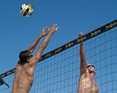 HERMOSA BEACH, CA - JULY 21: Danko Iordanov and Sean Scott compete in the Jose Cuervo Pro Beach Voll