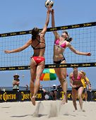 HERMOSA BEACH, CA - JULY 21: Sarah Day and Kaitlin Sather compete in the Jose Cuervo Pro Beach Volle