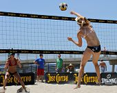 HERMOSA BEACH, CA - JULY 21: Sarah Day and Michelle Moriarty compete in the Jose Cuervo Pro Beach Vo